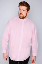 Yours Clothing Slate Grey Pale Pink Formal Long Sleeve Shirt-TALL