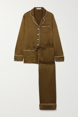 Olivia von Halle Coco Silk-satin Pajama Set - Army green