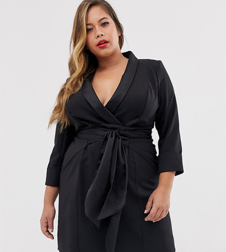Asos DESIGN Curve mini tux dress with self tie belt