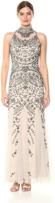 Aidan Mattox Aidan Women's Beaded Mock Neck Gown