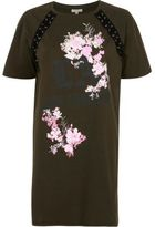 River Island Womens Khaki green floral lace-up oversized T-shirt