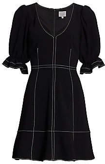 Cinq à Sept Women's Riley Puff-Sleeve Topstitch Mini Dress