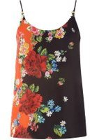 Dorothy Perkins Womens Black Floral Placement Camisole Top- Fl Multi