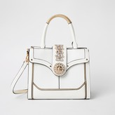 River Island Womens White embellished lock front tote bag