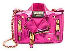 Moschino Women's Cash Biker Jacket Metallic Leather Crossbody Bag