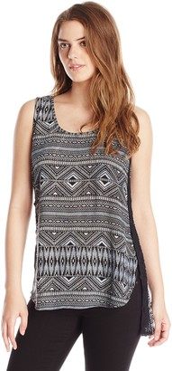 RD Style Women's Crinkle Printed Back Zip Sleeveless Blouse