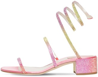 Rene Caovilla 40mm Snake Embellished Satin Sandals