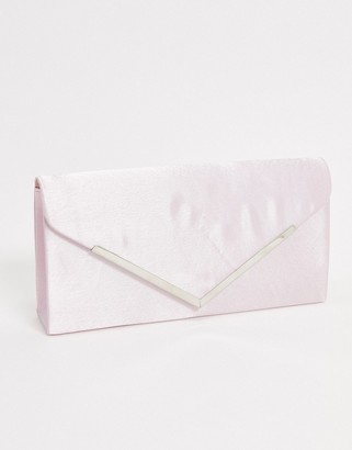 My Accessories London envelope clutch bag in baby pink satin