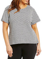 Calvin Klein Plus Knit Texture Short Sleeve Blouse