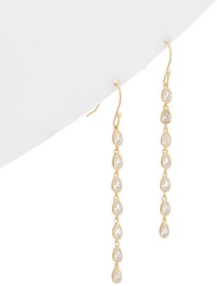 Rivka Friedman 18K Gold Clad Simulated Diamond Drop Earrings