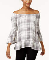Style&Co. Style & Co Style & Co Petite Plaid Off-The-Shoulder Top, Created for Macy's