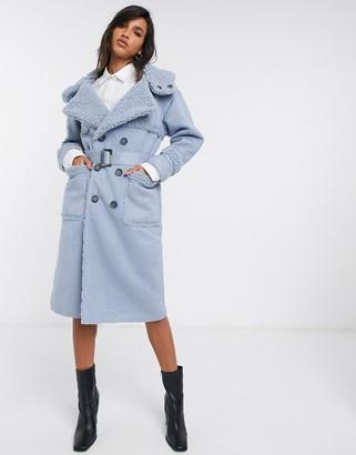 Urban Code Urbancode Retter reversible faux shearling coat in sky