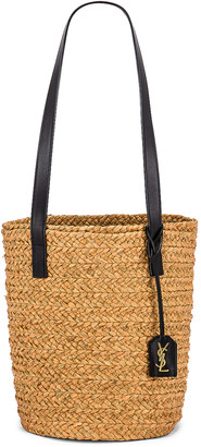 Saint Laurent Small Panier Raffia Bag in Natural & Black | FWRD