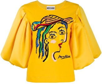 Moschino embroidered face T-shirt