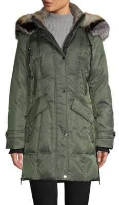 1 Madison Fox-Fur Hooded Parka Coat