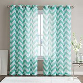 "HLC.ME Chevron Printed Premium Window Sheer Curtain Voile Panels With Grommets for Living Room, Bedroom & Kids Room - 2 Panel Set - 63"" Inch Long (Mint Green)"