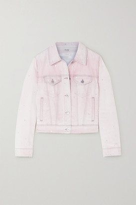Miu Miu Crystal-embellished Denim Jacket - Pink