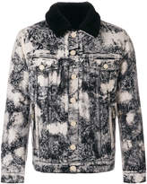 Balmain marble-printed denim jacket