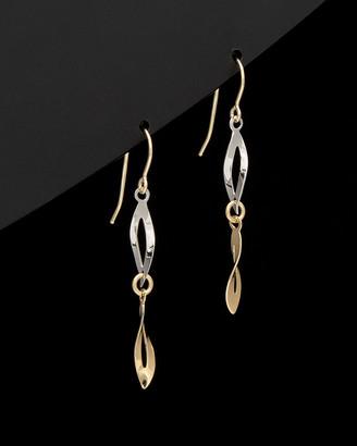 Italian Gold 14K Two-Tone Twisted Marquise Drop Earrings