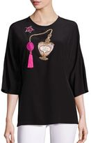 Dolce & Gabbana Embroidered Crepe de Chine Blouse