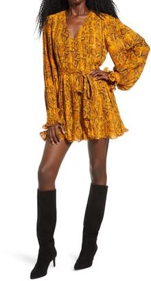 Endless Rose Python Print Pleated Long Sleeve Dress