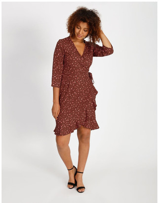 Vero Moda Henna 3/4 Sleeve Wrap Dress