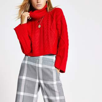 River Island Womens Red cable knitted roll neck crop jumper