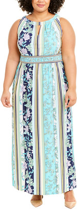 London Times Plus Keyhole Maxi Dress
