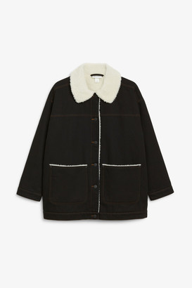 Monki Faux shearling denim jacket
