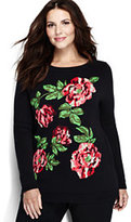 Lands' End Women's Plus Size Cotton Intarsia Sweater-Purple Beet Roses