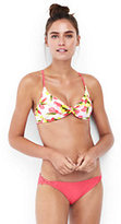 Lands' End Women's Reversible Twist Front Bikini Top-Rose Mist Tropical/Olive