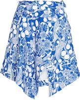 Carven Asymmetric printed crepe mini skirt
