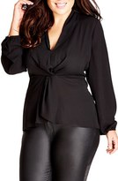 City Chic Plus Size Women's Knot Front Top
