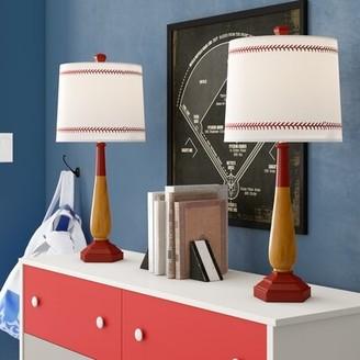 """Zoomie Kids Odysseus 25.5"""" Wood Grain/Red Table Lamp Set"""