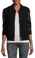 Etienne Marcel Wool-Blend & Leather Bomber Jacket, Black
