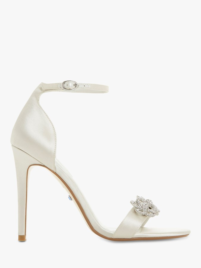 Dune Marry Me Bridal Collection Embellished Stiletto Heel Sandals, Ivory Satin