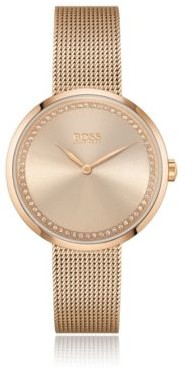 HUGO BOSS Swarovski-crystal-trimmed watch with carnation-gold finish