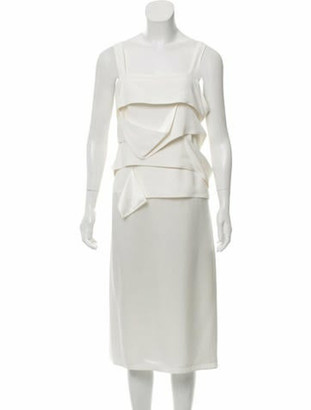 Derek Lam Ruffle Midi Dress w/ Tags White