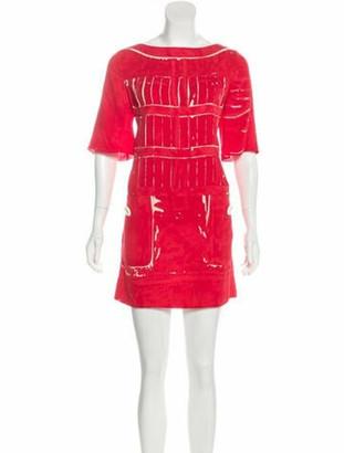 Louis Vuitton Printed Mini Dress Red