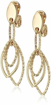 Anne Klein Women's Gold Diamond Textured Linear EZ Comfort Clip Earrings Size 0