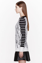 McQ by Alexander McQueen Ivory & Black Ladder Stitched Tiger Stripe Sweater