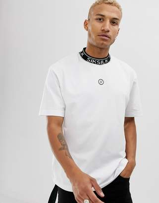 SikSilk x Dani Alves oversized t-shirt in white with ribbed neck
