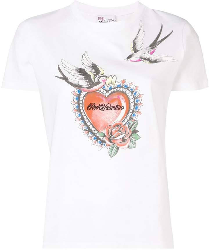 RED Valentino logo heart print T-shirt