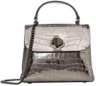 Kate Spade Romy Metallic Croc Embossed Mini Top-Handle (Gunmetal) Bags