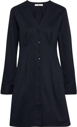 Tibi Dominic Pleated Stretch-cotton Twill Mini Dress