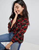 Monki Floral Print Flare Sleeve Blouse