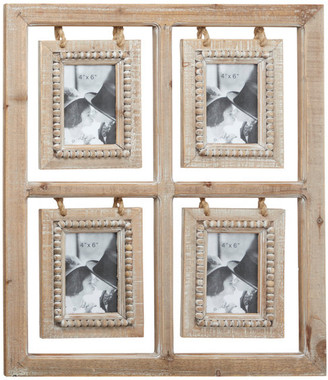 Brimfield & May Rectangular Natural Wood Collage Picture Frame With Wood Bead Detail