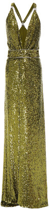 Dundas Crystal-embellished Sequined Crepe Gown
