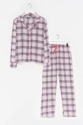 Nasty Gal Womens Checking Out Shirt and Pants Pajama Set - Pink