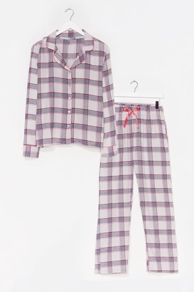Nasty Gal Womens Checking Out Shirt and Trousers Pyjama Set - Pink - XS